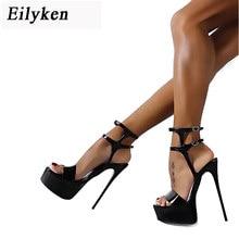 4f61ed0b01 Eilyken 2018 Novas Mulheres de Verão Sandálias Estilo Sexy 16 cm Sandálias  Das Mulheres Fivela Boate Sapatos de salto alto Do De.