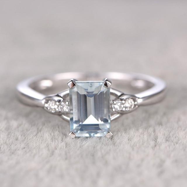 1ct Round Cut Aquamarine White Topaz Side Stone Engagement Ring For Women Wedding Set 14k
