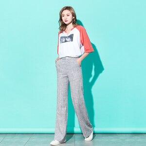 Image 3 - Women Linen Wide Leg Pants 2019 Spring High Waist Kintted Striped Gray Pants Palazzo Streetwear Korean Plus Size 5XL Trousers