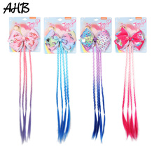 AHB 4.5 Unicorn Hair Bows for Girls Barrettes Clips JO Rainbow Gradient Ponytail Wig Party Kids Accessories
