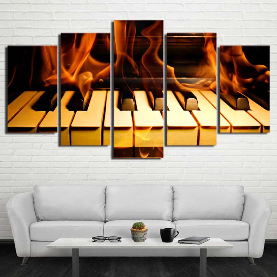 HD холст настенный светильник современный, художественное украшение для дома, фотографии 5 шт. пламени клавиши пианино Гостиная модульная печатные картины рама для плаката
