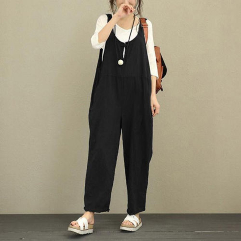 Casual jumpsuits for women 2018 Summer Sleeveless Dungarees Overall Baggy Oversized Jumpsuit Romper Long Pant Trousers
