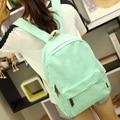 Estilo bonito doce cor da lona mulheres mochila mochila escolar estudante universitário saco de lazer mochila
