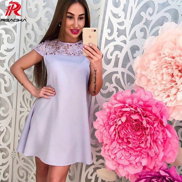 9a3ef0256821 Reaqka Summer Solid Lace Mini Dress White 2018 Beach Casual Loose Short  Sundress Pink Vintage Elegant Party Dresses Vestidos XL