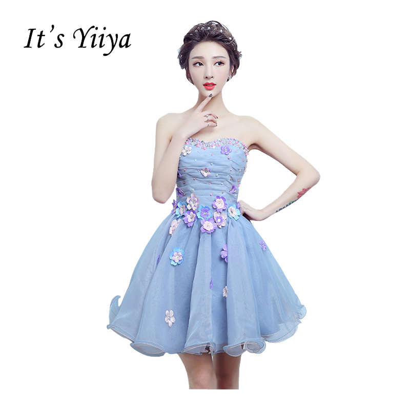 It's Yiiya Purple Strapless   Cocktail     Dresses   Flower Princes Mini Beading Tulle Appliques Bride Ruched Party Formal DressT-215