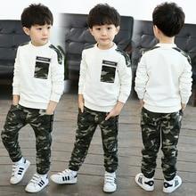 Boys Clothes Spring /Autumn Camouflage Sets 2018 Kids Children Set Boy Sports Two Piece 4-12Y Military Uniform Suits