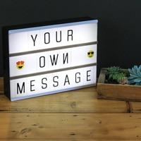 DIY Combination Letter LED Light Box A4 A6 Night Lamp Black Letter Cards Home Decoration Bed Lamp USB Premuim Cinema Lightbox