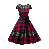 Sishot Women Vintage Dresses 2018 Spring Summer Fall Red Plaid Hollow Backless Mid Lace Patchwork Blue