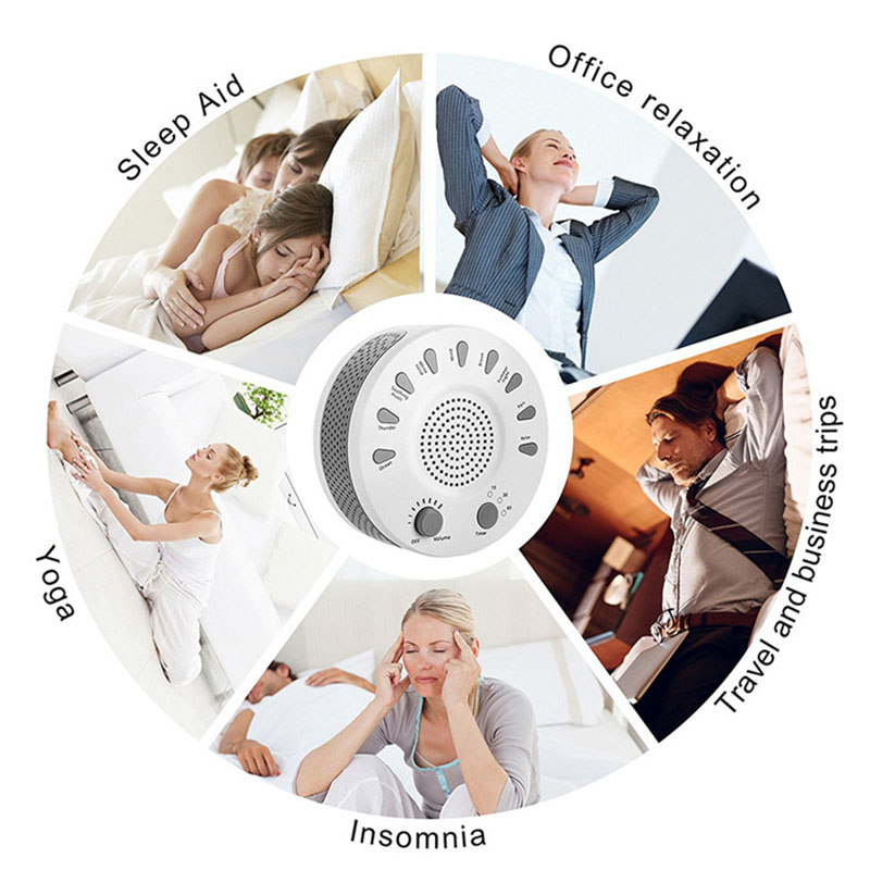 White Noise Machine Portable Baby Sleep Soother Cure Insomnia 9 Soothing Sounds Anti Snore Sleep Aiding with Auto-off Timer 2