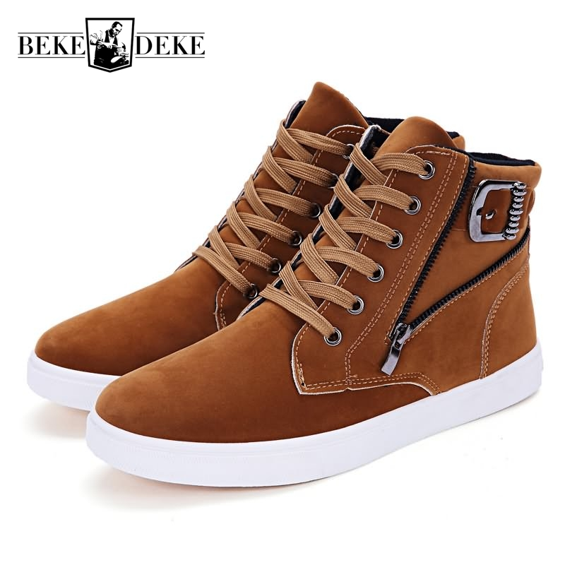 Hot Sale Punk Style Men Pu Leather Winter Warm Casual Shoes Male Footwear Lace Up Round Toe High Help Multi Color Black Zipper vmuksan hot sale suede leather shoes men high quality lace up men casual shoes new style comfortable men s spring shoes