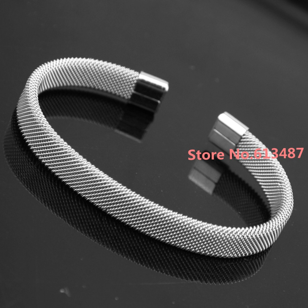 7 Silver Jewlery Fashion 316L Stainless Steel Women Ladies Cuff Bangle Bracelet 8mm Good Xmas Gift