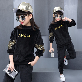 New Arrival 2019 Children's Sports Suits British Style Eagle Embroidery Clothing Set Fall Winter Gold Velvet Two-piece Tracksuit