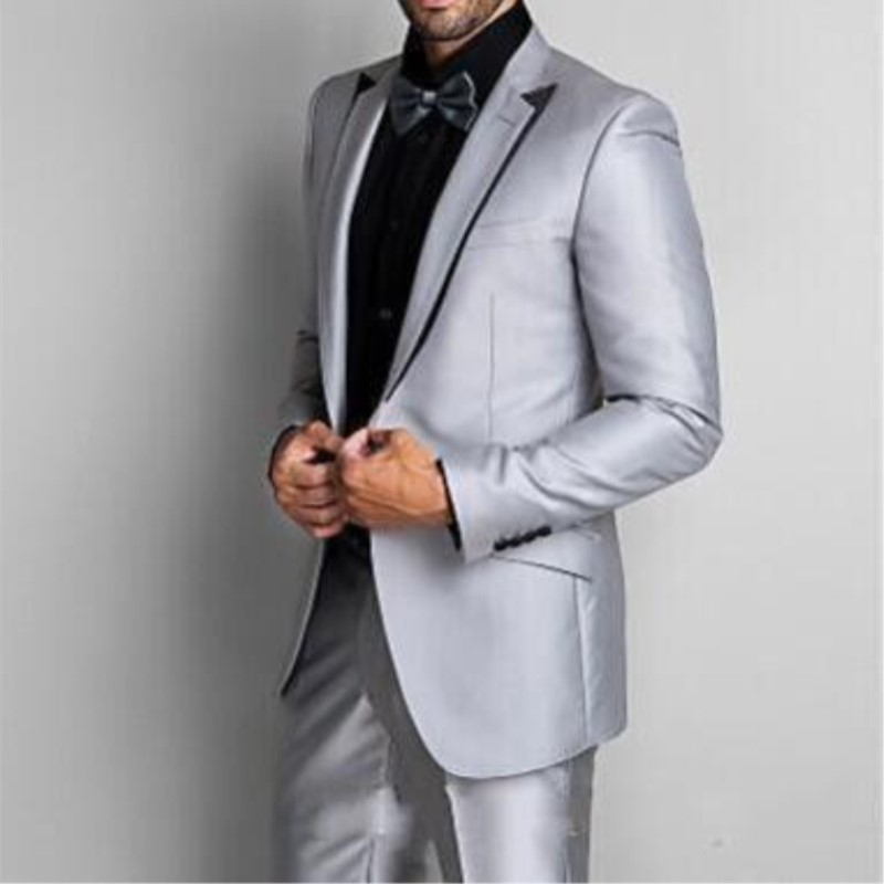 7ad7ac4a2c3 Custom 2pieces Made Handsome Groom Tuxedos Silver Gray Best man Suit  Wedding Men Fits Formal Party Prom costume 295-in Suits from Men's Clothing