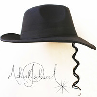 Unforgetting Memory Of MJ , 2016 Classic Black MJ Hats Collection1:1, Fedora Performance Dress Hat With Wig For Man