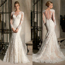 Long Sleeve Wedding Dress Mermaid Lace Bride Gown Romantic See Through Back Sexy Vestidos De Noiva 2015