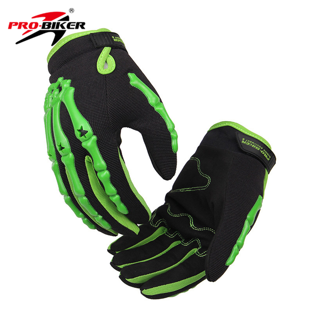 Motorcycle gloves singapore - Green Red Human Skeleton Hand Motorcycle Gloves Winter Warm Bone Style Universal Pro Bicycle Protective Gears