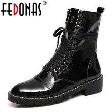 FEDONAS 2020 الخريف الشتاء الدافئة النساء فوق الركبة الأحذية البقر براءات الاختراع والجلود الحياكة أحذية طويلة أحذية ركوب الخيل أحذية الحفلات امرأة