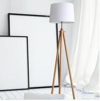 Tripod Floor Lamps in Wood, Foot Controlled