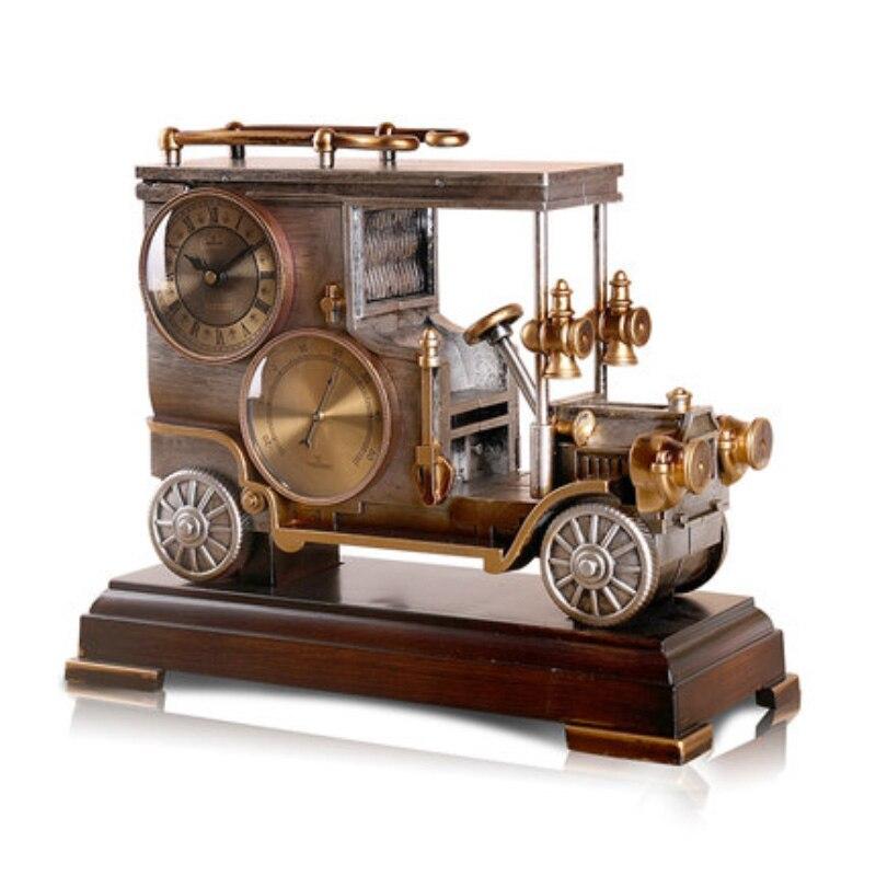 Horloge de voiture européenne rétro classique sautant secondes horloge à Quartz créative classique horloge de pendule de voiture salon bureau décoration