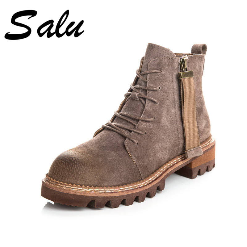 Salu 2018 new fashion Genuine Leather Women Ankle Boots Shoes Woman Lace Up Shoes Riding Equestr square high heel Boots salu 2018 new genuine leather women ankle boots lace up sexy women shoes platform flat high heel winter shoes women boots