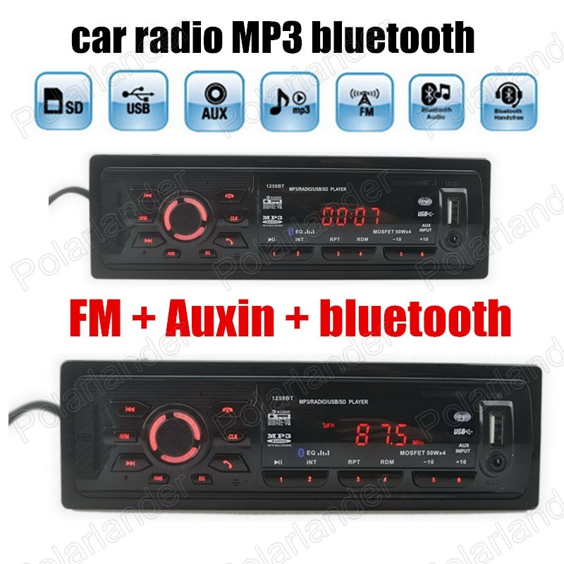 promotion Bluetooth Hands free Car Stereo Audio Music MP3 Player FM radio USB SD Slot AUX Audio 1 din size remote control