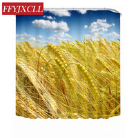 Custom Made Gold Wheat Field Polyester Fabric Waterproof Mildew Modern Bathroom Shower Curtain With 12pc Hook