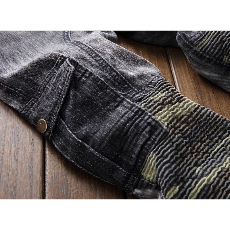 Mens Fashion Multi Pocket Distressed Washed Destroyed Jeans Pants Personality Knee Pleated Denim Trousers Ripped Jeans Pants