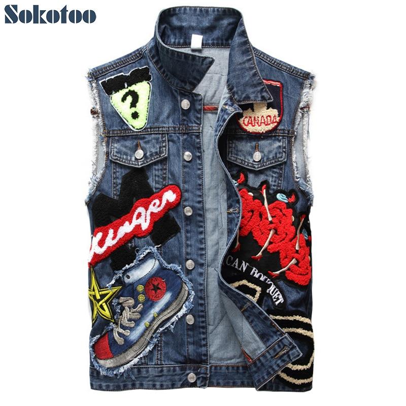 Sokotoo Men's patch design blue denim vest Fashion slim fit beauty embroidery patchwork tank top