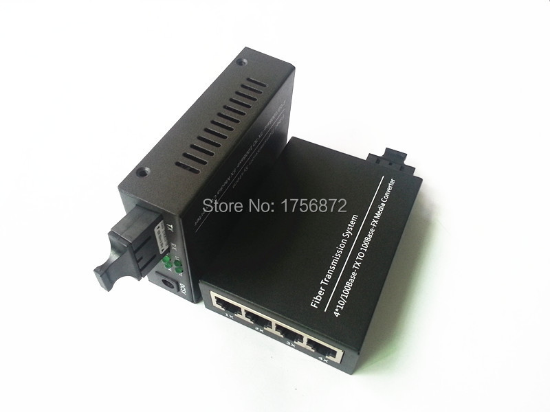 2 Pieces/lot 10/100M 4XRJ45 1XSC Singlemode Daul Fiber Optical Media Converter 25KM for HD Camera Fiber Transmission System2 Pieces/lot 10/100M 4XRJ45 1XSC Singlemode Daul Fiber Optical Media Converter 25KM for HD Camera Fiber Transmission System