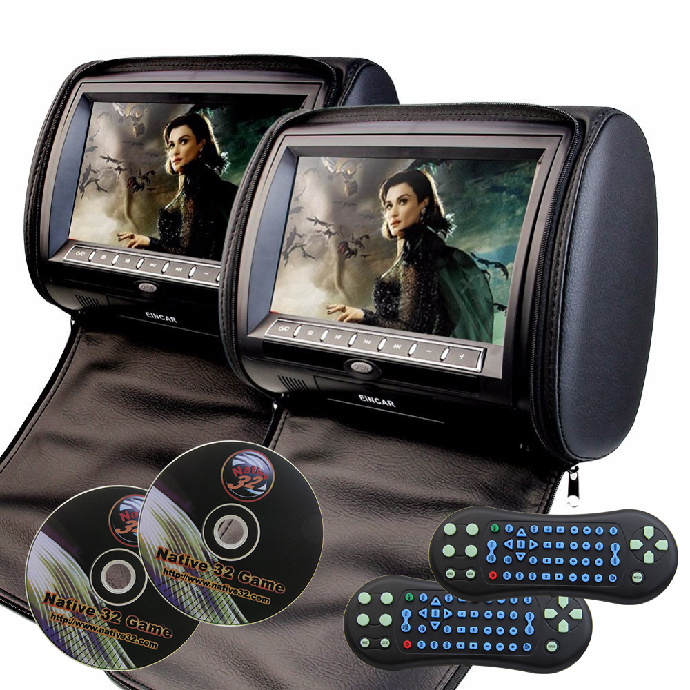 2x7 Headrest Car DVD Player Support 32 Bits Games Cover With Zipper Built-in IR FM Seatback Digital Touch key Pillow Monitor car headrest 2 pieces monitor cd dvd player autoradio black 9 inch digital screen zipper car monitor usb sd fm tv game ir remote