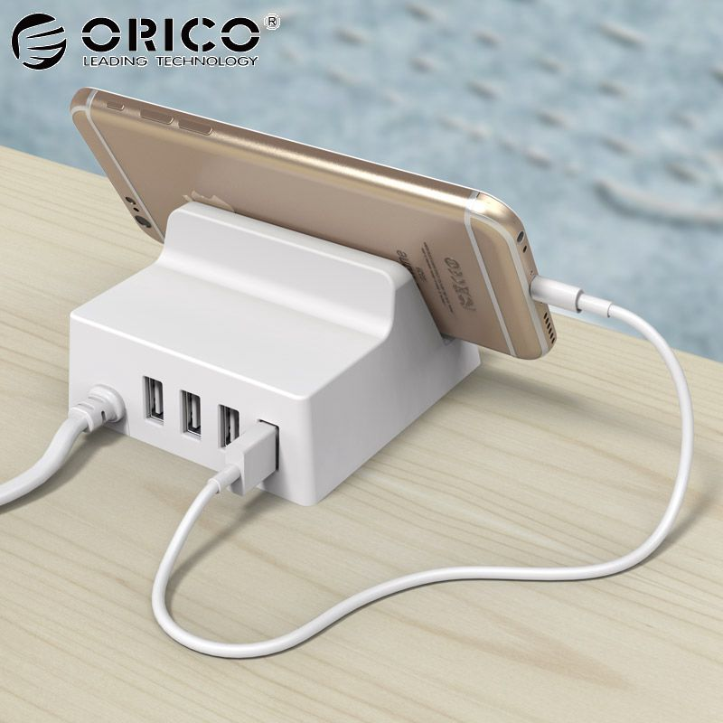 ORICO 4 Ports USB Charger Holder 5V 4A 20W Desktop Smart Charger with Phone / Tablet Mount for Samsung iPhone Power Bank