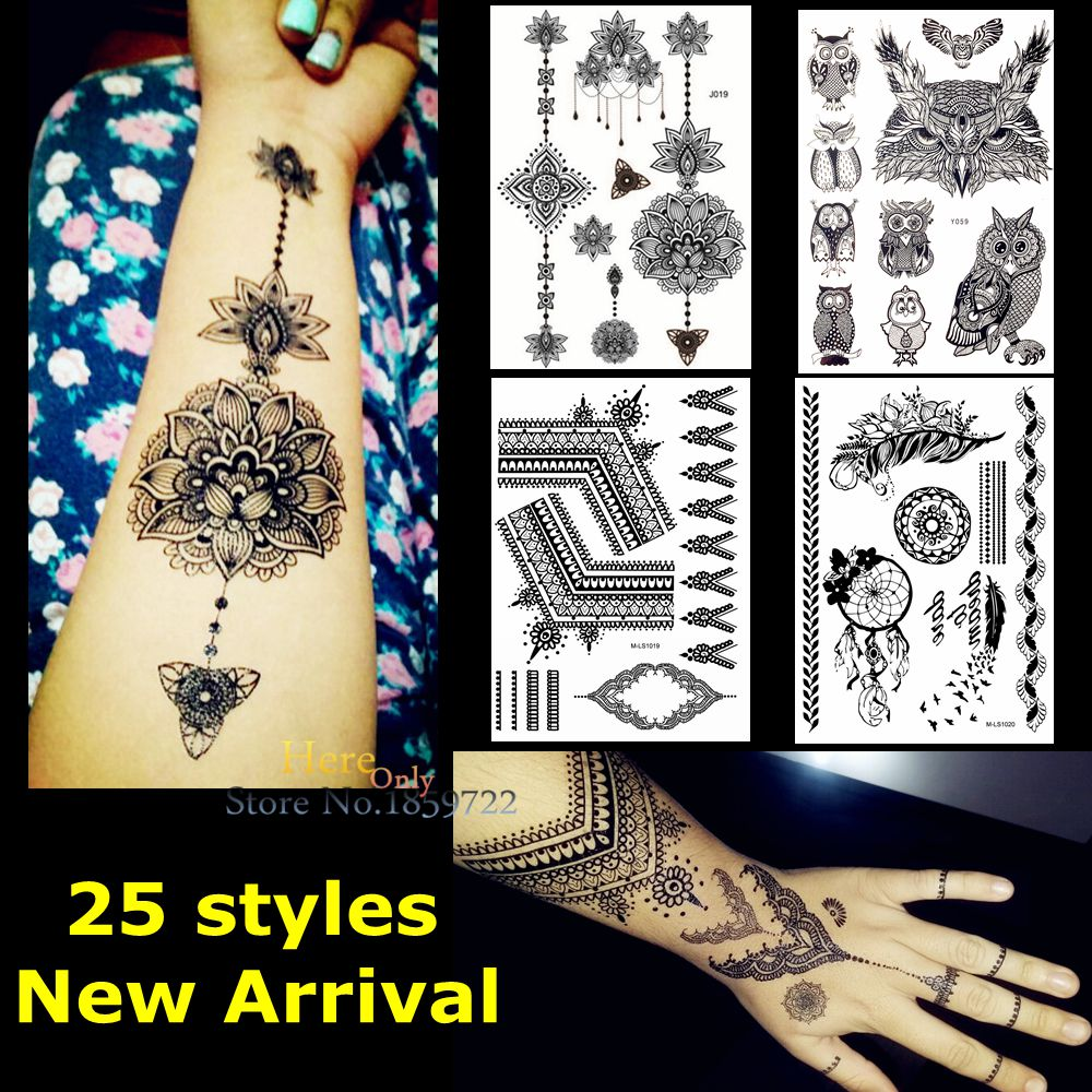 Aliexpress Buy 1pc Large Indian Mehdi Black Ink Henna Tattoo