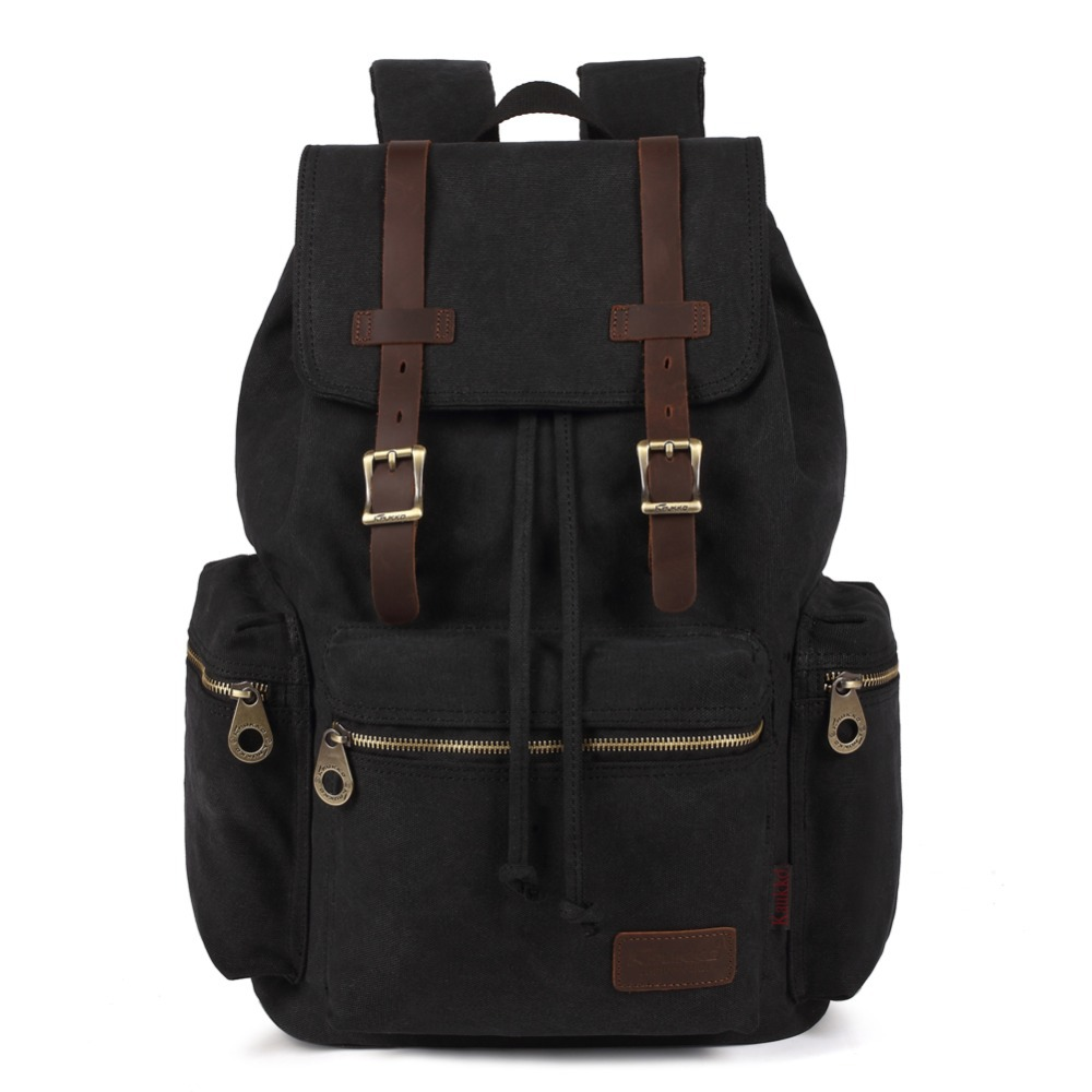 Kaukko New fashion Men's High Quality Vintage Rucksack bag Canvas Computer Laptop Travel Bags Large Capacity Backpack for School large capacity backpack laptop luggage travel school bags unisex men women canvas backpacks high quality casual rucksack purse