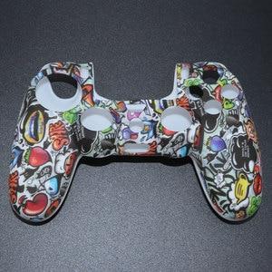 Image 3 - YuXi funda de goma de Gel de silicona camuflaje para Dualshock 4, Playstation 4, PS4 Pro, mando fino