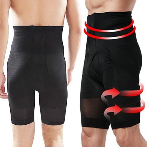 Men Shorts Fat Burning Flat Stomach Compression High Waist Shape Leggings