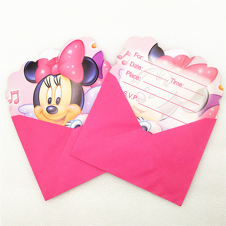 6pc Invitation Cards Envelope Minnie Mouse party supplies Kid Birthday Minnie Mouse Party Decoration Baby Shower Cartoon Favors