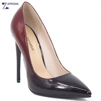 High Quality Concise Women Gradient Pumps Slip On Super High Heel Wine Red Black Valentine Shoes