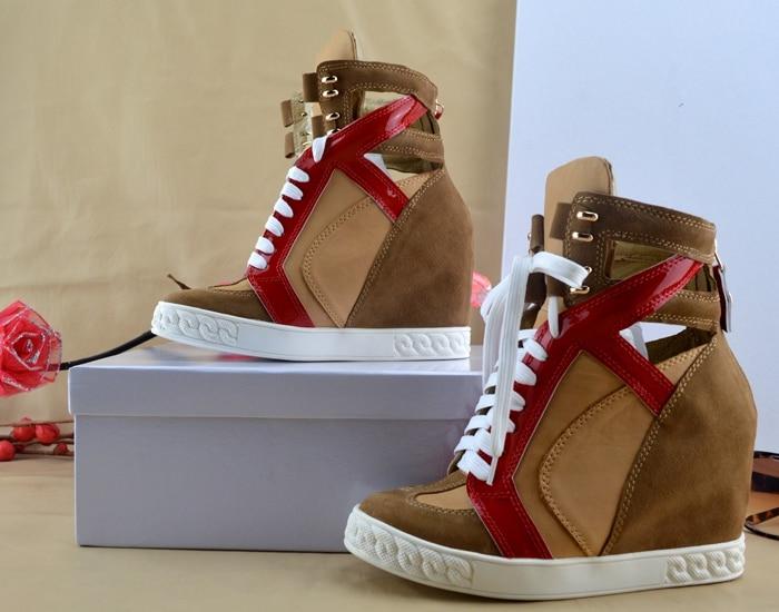 Mujeres Mujer Señora Las De Show Botas Casuales Aumento Plataforma Nuevo Cuña Altura Color Cuero As Zapatos Moda Nubuck Caqui Hueco La wY6TqF4