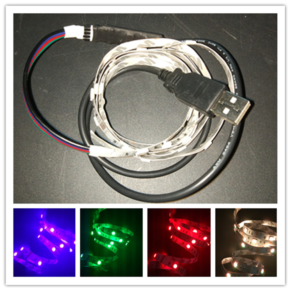 YIYANG 1M DC5V USB 5050 RGB Flexible Light TV Background Decoration Lighting RGB LED Strip Adhesive Tape IP20 Non waterproof