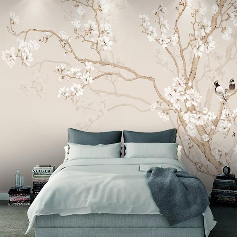 Custom Mural Wallpaper Modern Chinese Style Hand Painted Magnolia Flower Bird Photo Wallpaper Bedroom Papel De Parede Home Decor
