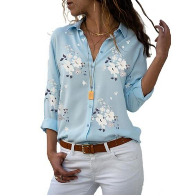 Summer Dioufond Women print   Blouses   Long Sleeve   Shirt   Turn Down Collar Floral   Blouse   Plus Size Women Vintage Cotton   Shirt