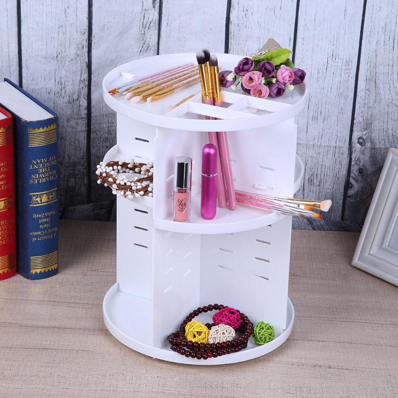 Desktop Cosmetic Organizer Plastic Rotating Jewelry Makeup Storage Box Makeup Brush Lipstick Holder Case