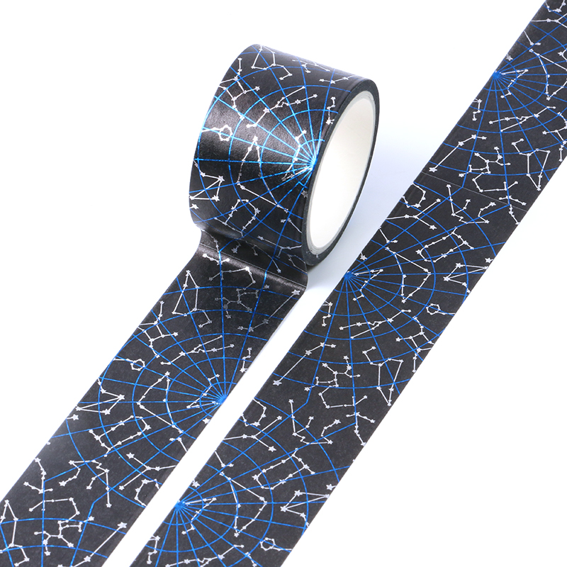 Black Blue Galaxy Bullet Journal Washi Tape Cute Decorative Adhesive Tape DIY Scrapbooking Sticker Label Stationery