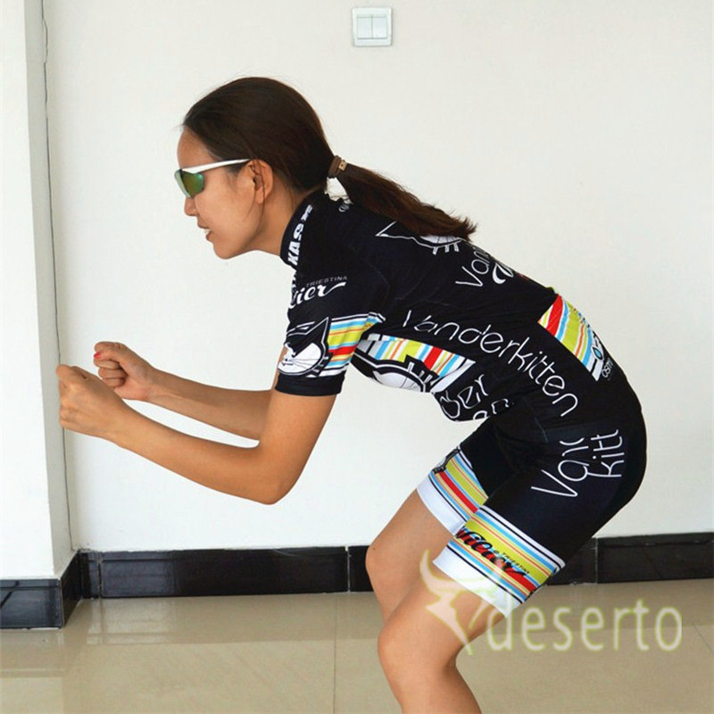 2015 Women Cycling Jersey Vanderkitten Bicycle Cycling Clothing Ropa  Maillot Ciclismo Cute Black Cat Girl s bike mtb clothes-in Cycling Jerseys  from Sports ... 56b5b1ebe