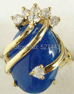 ขายส่งจัดส่งฟรี>>สวย18KGPสีฟ้าแหวนผู้หญิงหิน7 8 9 AAA
