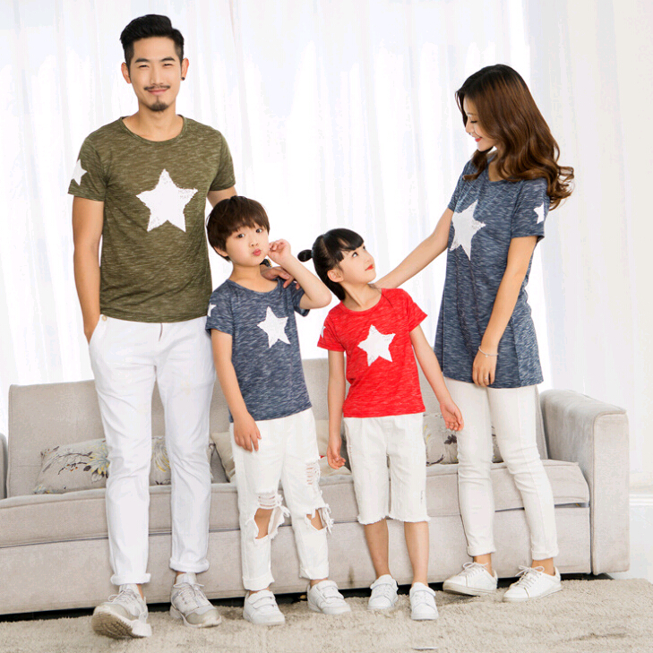 Family Matching Outfits Look Casual Family Set Star T shirts Clothes Family Look Father Mother Kids Clothes Family Clothing ZZ