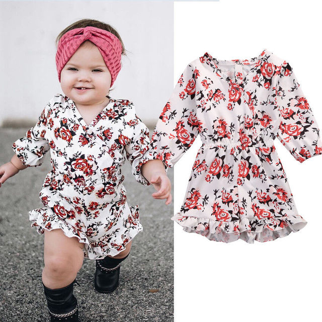 Sweet Baby Girls Kid Floral Romper Jumpsuit Toddler Summer Shorts