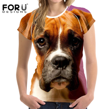 FORUDESIGNS 3D Boxer Printed T Shirt Women Harajuku Short Sleeve Tee Femme for Females Fashion Clothing Customize T-shirt