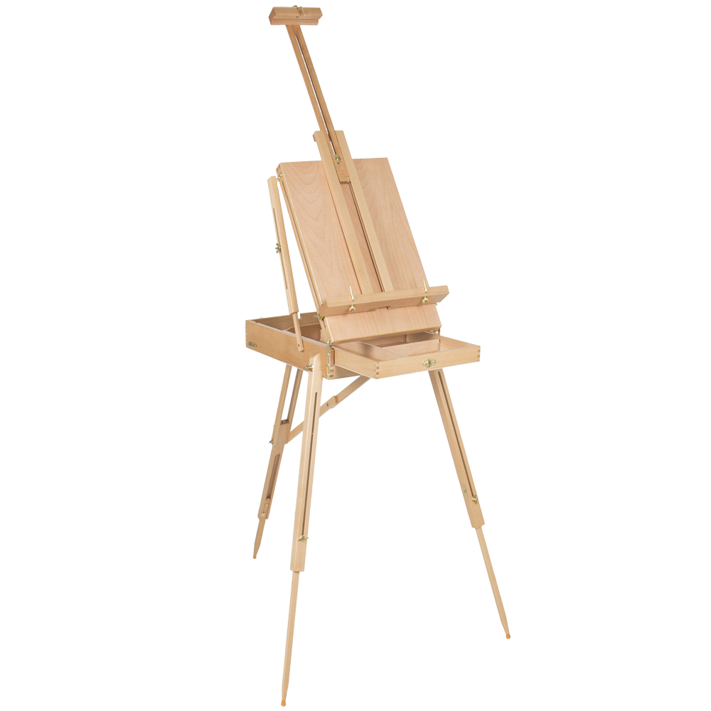 Premium Red Beech Portable Paint Box Art Box Wood Oil Painting Easel Stand Wooden Easel For Artist 50*34.5*150cm italian red elm oil box new four feet easel multi function easel with oil painting box made by natural red ju wood