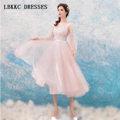 ארוך שרוולים קוקטייל שמלות רומנטי שמפניה שמלת קוקטייל אלגנטי המפלגה שמלת Vestido דה קוקטייל 2018